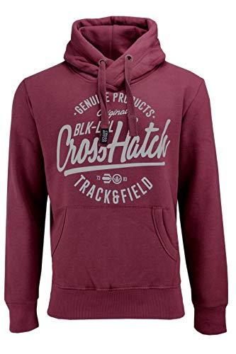 CrossHatch Herren Sweatshirt Pullover Pending CH Hooded Sweat Kapuze Hoody (weinrot, M)