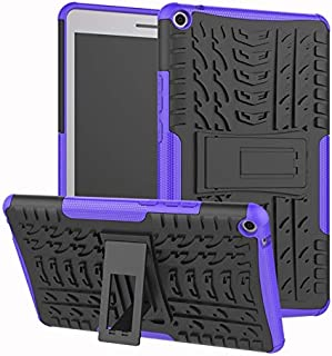 YHUISEN Hyun Pattern Dual Layer Hybrid Armor Kickstand 2 in 1 Shockproof Cover for Huawei MediaPad T3 8.0 inch 2017 Release (Color : Purple)