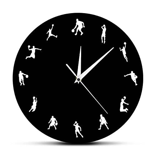 xinxin Reloj de Pared Juego Deportivo de Baloncesto Reloj de Pared Jugadores de Baloncesto Diseño Minimalista Posturas de Tiro Slam Dunk Reloj Moderno Regalo de Baloncesto