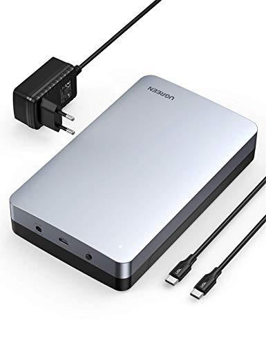 UGREEN USB C Festplattengehäuse 3,5 Zoll mit USB C 3.1 Gen 2 bis zu 10Gbps USB 3.5 Zoll Festplatten Gehäuse für SATA HDD und SSD Externes Gehäuse HDD Case unterstützt UASP, Werkzeugfrei, Aluminum
