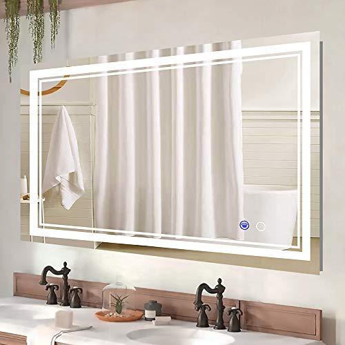 Keonjinn 48 x 32 Inch LED Mirror Bathroom Makeup Mirror Anti-Fog Wall -