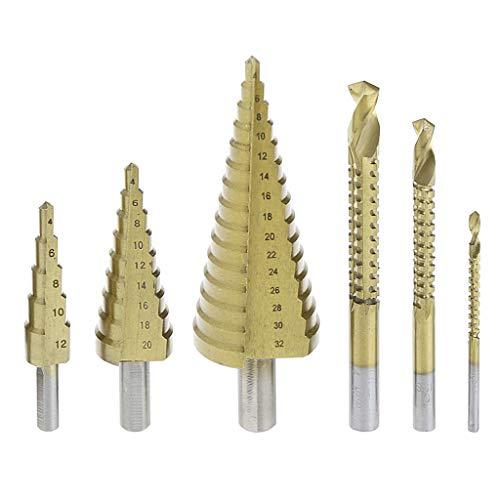 Chou Hss Metallbohrer, 6-teilig, Titanbeschichtung, Stahl, HSS, Bohrer, 4-32 mm, Metall