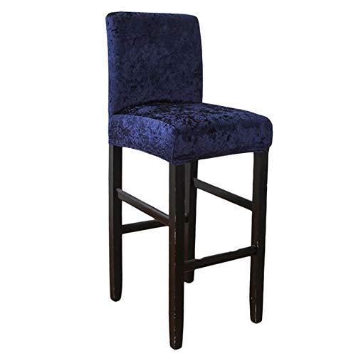 Abodos Barhocker Stuhl-Abdeckung, Samt Husse Für Dining Chair Und Barhocker Stuhl, Elastic Stretch Removable Waschbar Hoch Hocker Stuhlabdeckung,Navy Blue,Set of 2