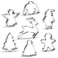 Moldes de Galletas Navidad - 7 Piezas - Papa Noel, Renos, Hombre de Jengibre, Árbol de Navidad, Ángel, Suéter Feo, Sombrero de Invierno - Acero Inoxidable
