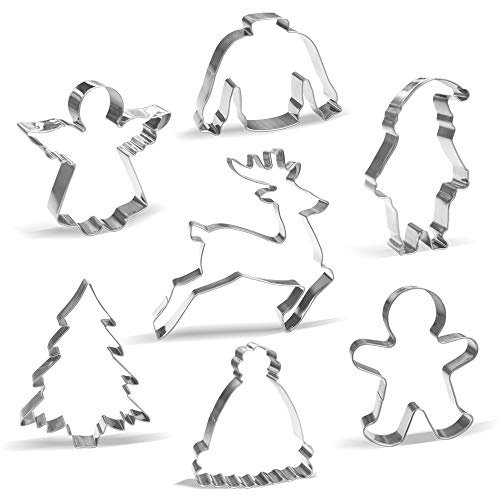 Large Christmas Cookie Cutter Set - 7 Piece - Stainless Steel