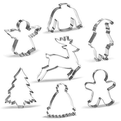Grand Emporte-pièces Noël Hiver - 7 pièces - Père Noël, Renne, Bonhomme en pain d'épice, Arbre de Noël, Ange, Chandail laid, Chapeau d'hiver - Acier Inoxydable