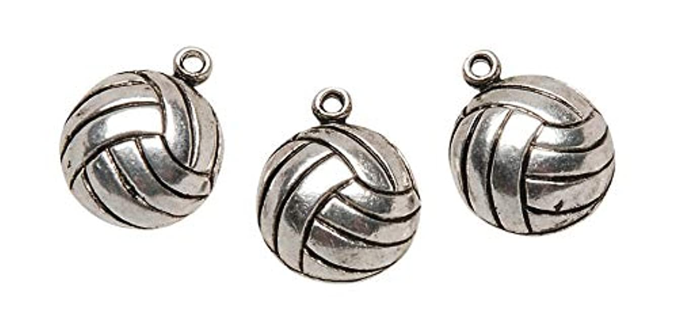 Darice Metal Charms, Silver Volleyball, 12-Pack (FBA_TS1-43)
