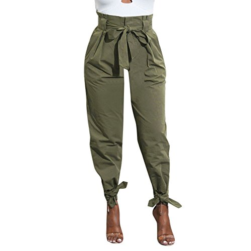 ZEFOTIM Womens Belted High Waist Trousers Ladies Party Casual Pants (M,Army Green)