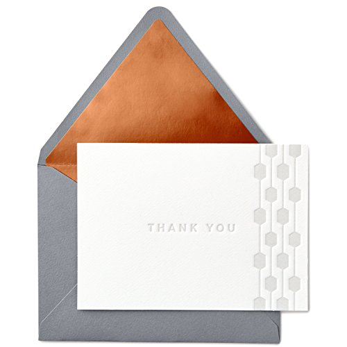 Hallmark Signature Gold Thank You Cards, Embossed Geometric Border (10 Cards with Envelopes)