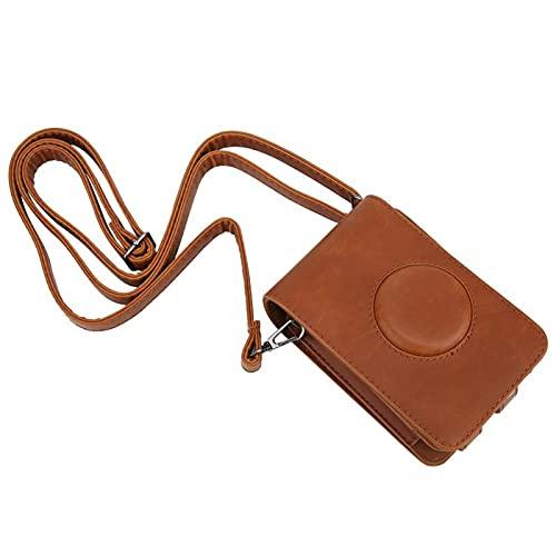 DAUERHAFT PU-läder magnetisk knapp kamera läderfodral, för Instax Mini LiPlay kamera (brun)