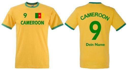 Fruit of the Loom Kamerun Herren T-Shirt Retro Trikot Wunschname & Nummer|M