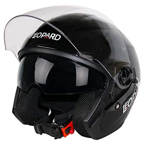 Leopard LEO-608 DVS Offenes Gesicht Motorradhelm Rollerhelm Jethelm Jet Helm mit Lang klar Visier und Integrierter Sonnenblende | ECE Zertifiziert XXL (63-64cm)
