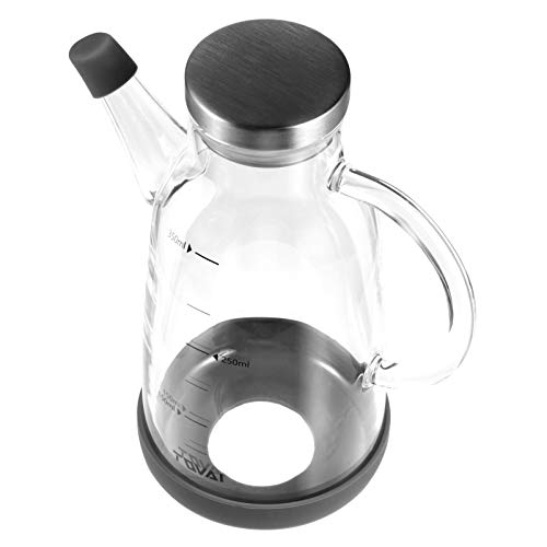 Hemoton Dispensador de Aceite de Oliva Botella 350Ml Vidrio a Prueba de Fugas Aceite Puede Olla Bote Contenedor de Condimentos para Restaurante Cocina Cocinar Aceite para Freír Grasa