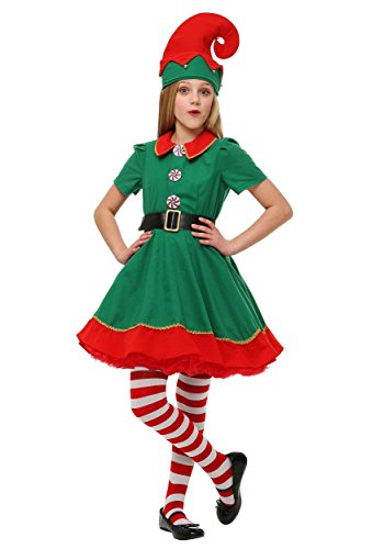 Child Holiday Elf Costume Dress and Hat Elf Costume for Girls Large (12-14)