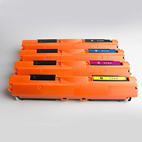 1 Toner HP CE310A BK black CE312A Y Yellow CE13A M Magenta (Black - Schwarz)