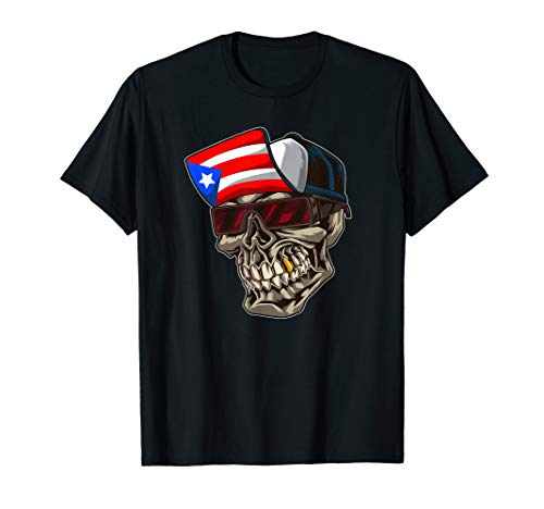 Cool Puerto Rican Skull With Cap And Puerto Rico Flag T-Shirt