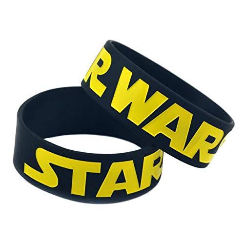 Xi-Link Pulsera Star Wars Suave De Silicona Pulsera De 1 Pulgada De Correa De La Mano del Anillo Película De Ciencia Ficción (Color : Black)