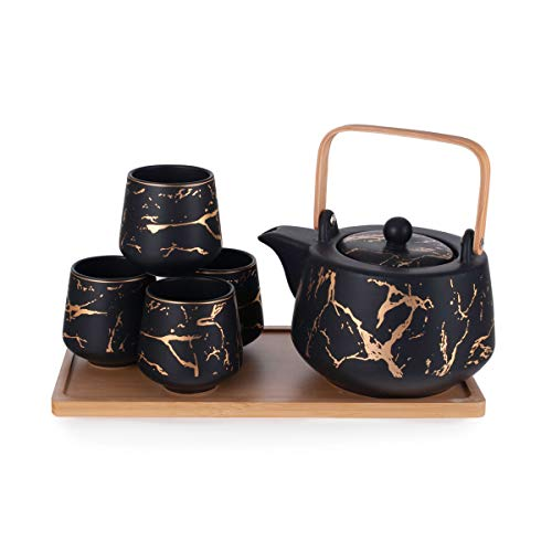 Hinomaru Collection Modern Style Marble Design Porcelain Tea Set 42 fl oz Teapot with Handle and 4...