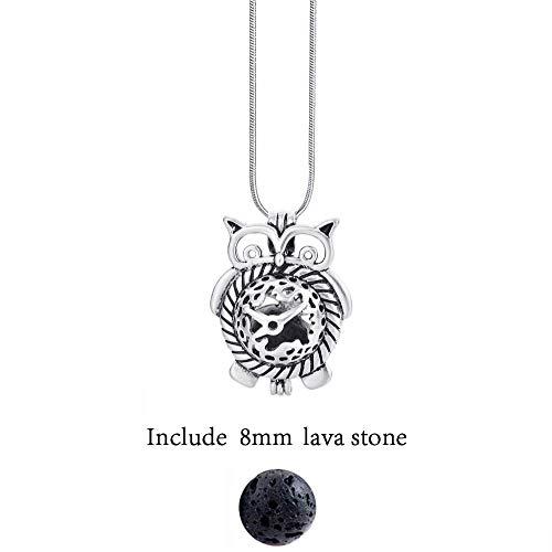 YUNGYE Diversificada de Fieltro Glow Bolas de Piedra de la Lava Antiguo Collares Locket del Perfume de la Vendimia Aceite Esencial difusor Collar (Color : 40cm, Size : Big Owl)