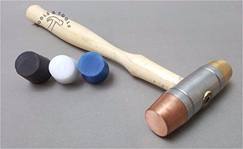 5Austauschbare Gesichter Hammer Kunststoff Kupfer Gummi Messing Mallet Schmuck