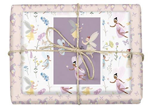 dabelino Papel de regalo 'hadas/elfos + mariposas' para niños/niñas, set de 4 hojas + 1 tarjeta (ecológico, papel reciclado, cumpleaños, rosa, lila, diversidad)
