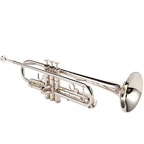 Asixxsix Trompete, professionelle Silber Standard Messing Trompete mit Mundstück, langlebig für Anfänger