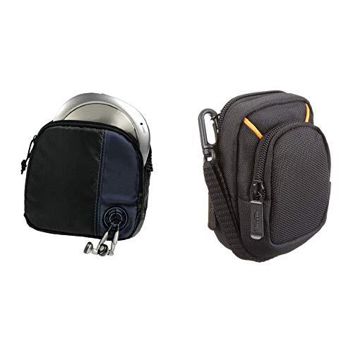 Hama CD-Player-Tasche für Discman und 3 CDs (Mit Kabelausgang und Gürtelschlaufe) schwarz/blau & Amazon Basics Kameratasche für Kompaktkameras, mittlere Größe