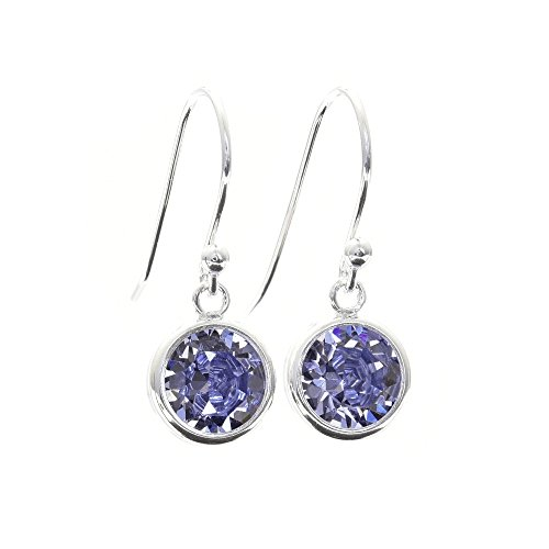 pewterhooter 925 Sterling Silver drop earrings for women made with sparkling Tanzanite crystal from Swarovski in a silver channel setting. Gift box. Made in the UK