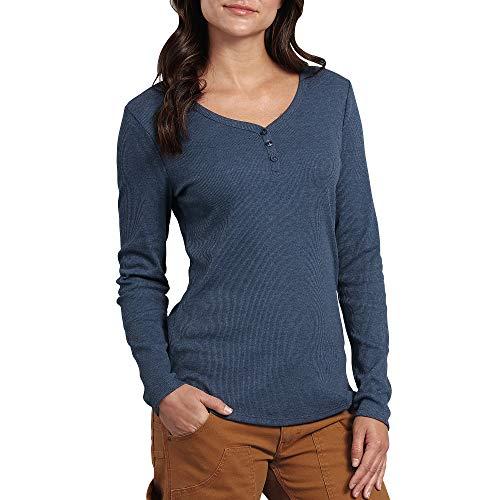 Dickies Women's Long-Sleeve 3-Button Henley Shirt, Dark Denim, Medium