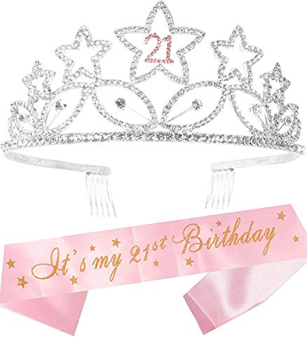 21st Birthday Gifts for Girl, 21st Birthday Tiara and Sash, Happy 21st Birthday Party Supplies, It's My 21st Birthday Sash and Crystal Tiara Birthday Crown, 21st Birthday Party Decoration