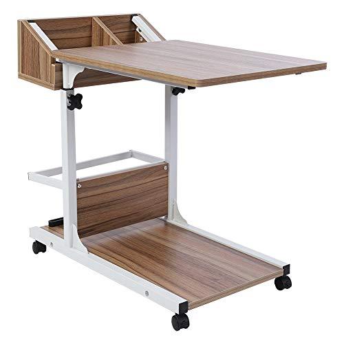 EBTOOLS Pflegetisch, Abnehmbar Rolltisch Sofatisch Laptoptisch Laptopständer Computertisch Beistelltisch Frühstückstisch Schreibtich mit Schublade und Bodenplatte für Bett und Sofa 50-80cm(Alteiche)