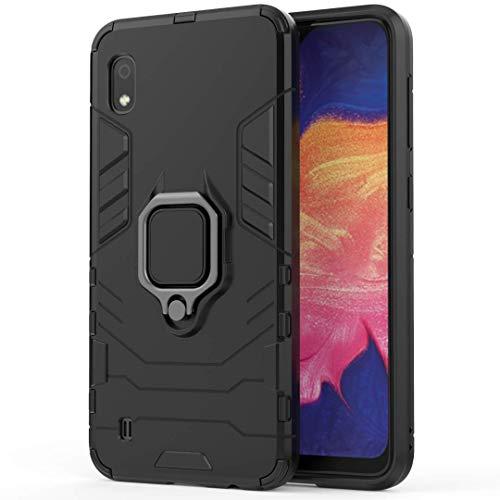 Adamarkeer Diseñado para Huawei Y6 Pro 2019 / Enjoy 9E Funda resistente de doble capa 2 en 1 a prueba de golpes, funciona con soporte magnético para coche y soporte giratorio de 360 grados (negro)
