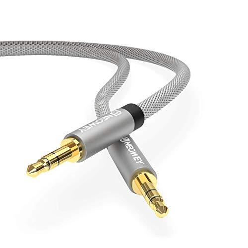 Neowey Nylon Aux-Kabel 3,5mm Stereo für Handy iPod iPhone Samsung Lautsprecher Auto Tablet KFZ PC (0,5m, Graphit Schwarz)