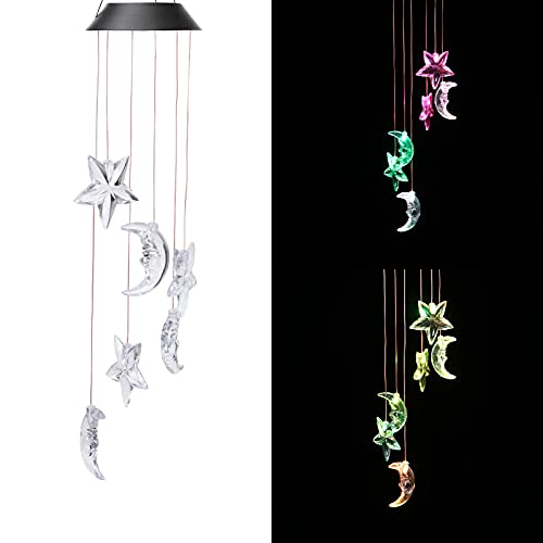 CAMMILE Solar Wind Chimes Outdoor Rainproof Changing Colors String Light Wind Chimes Yard Decorations Solar Light Mobile Yard Garden Patio Home Party Festival Decorative Light(Moon)