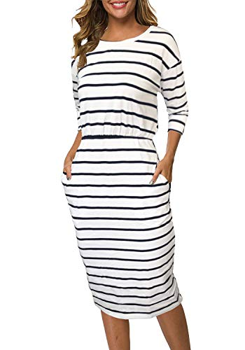 Moyabo Dresses for Women Party Wedding 3/4 Sleeve Round Neck Striped Hips-Wrapped Bodycon Office Pencil Dress White Small