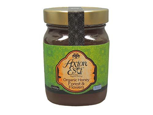 Miel Cruda Orgánica de Grecia | Miel de Flores Silvestres y Bosque Griego por Axion Esti (450 g)