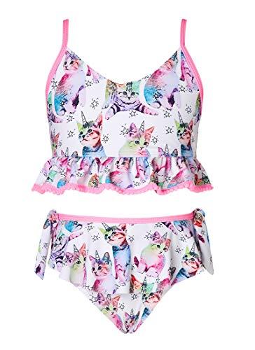 AIDEAONE 2 Stück Bikini Badeanzug für Mädchen Kinder Entzückende rote Einhorn Schwimmkostüm Schnelltrocknend Leichte sonnensichere Tankini