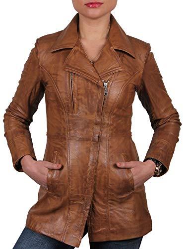 Brandslock - Giacca lunga in pelle di pecora, da donna Marrone chiaro XS