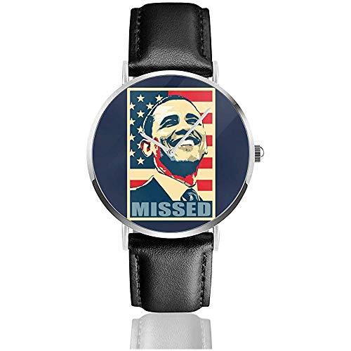 Unisex Barack Obama vermisste Uhren Quarzlederuhr mit schwarzem Lederband