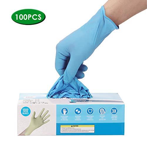 Hizek 100 piezas guantes azul, sin polvo de talco, sin látex, antialérgicos, resistentes al desgaste, S
