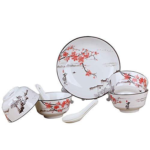 ZJZ Platos de vajilla Vajilla de cerámica Juego de Mesa de Restaurante de Hotel, Juego de vajilla Individual para el hogar de 18 Piezas