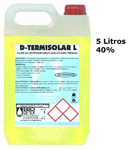 Liquido Caloportador (5 litros) con base de Propilenglicol (40%) Biodedetex Termisolar L-5