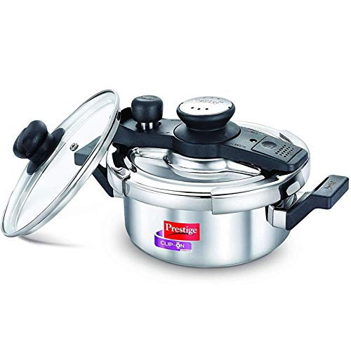 Prestige Svachh, 20237, 2 L, Stainless Steel Pressure Cookers, with deep lid for Spillage Control