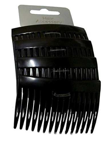 Set of 4 Black Plain Hair Combs Slides 7cm (2.8) by Pritties Accessories