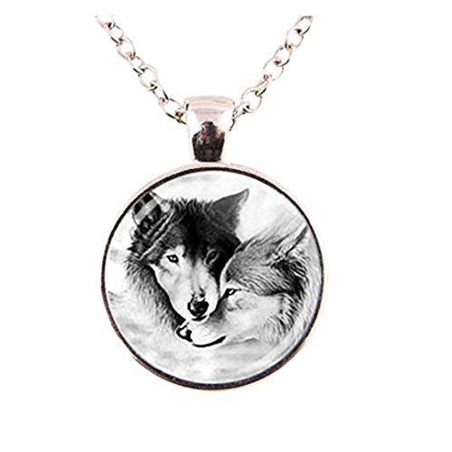 diysdlridrr Collar con colgante de lobo para pareja de lobos de lealtad de cristal y cabujón