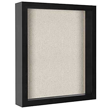 Americanflat 11x14 Inch Shadow Box Frame Soft Linen Back - Perfect to Display Memorabilia, Pins, Awards, Medals, Tickets Photos