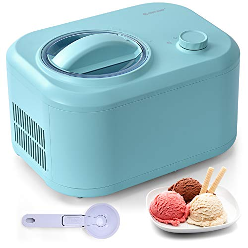 COSTWAY Ice Cream Maker, 1.1-Quart Automatic Electronic Gelato Maker with 3 Operation Modes, Built-In Compressor, Portable Homemade Dessert Maker with Spoon, Ice Cream Machine for Home, Dorm (Green)