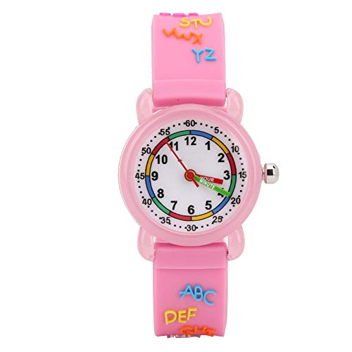 DERCLIVE Kids Watch, Girls Boys Watch Waterproof Letter Pattern 3D Cute Cartoon Round Dial Band Quartz Wristwatch Childrens Watches Time Recognitions Gifts for Kids Age 3-11 Years Old,Pink