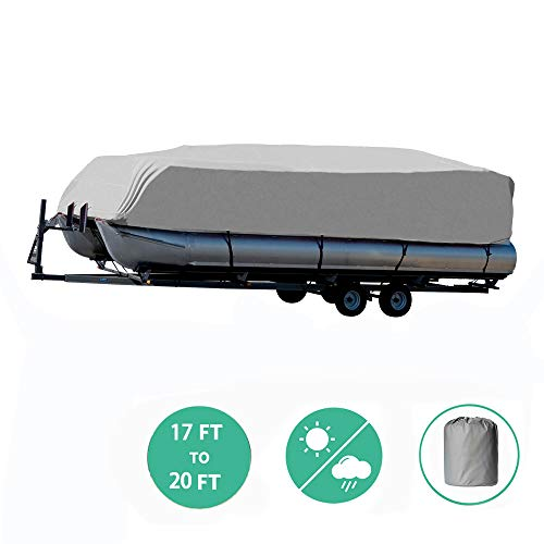 Trailerable Pontoon Boat Cover with Storage Bag, Waterproof Polyester Fabric Fits 17 to 20ft Long & Beam Width up to 102in Pontoon Boat