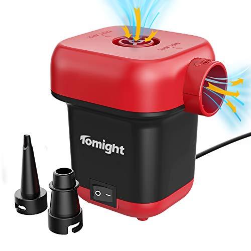 tomight Bomba de Aire Eléctrica,Inflador Eléctrico de llenado Rápido AC 220-240 V para Inflar Desinflar, Inflador Colchon Hinchable, 2 Boquillas Incluidas